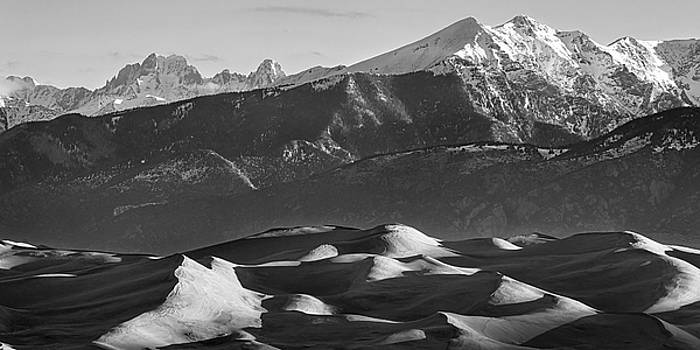 Monochrome Morning Sand Dunes and Snow Covered Peaks by James BO Insogna