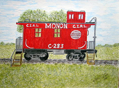 Monon Wood Caboose Train C 283 1950s by Kathy Marrs Chandler