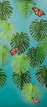 Monstera leaves with butterflies by KCatia Creole Art