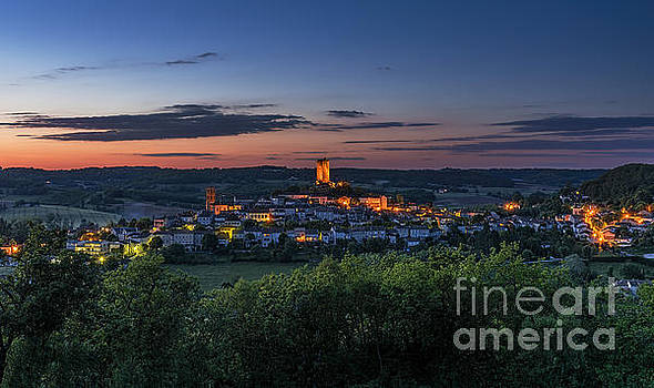 Montcuq at Night by Tony Priestley