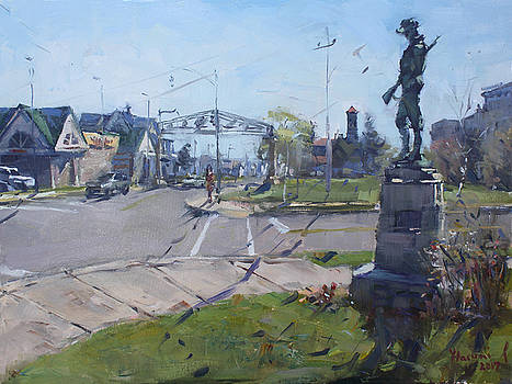 Monument at Pine Ave and Portage Rd by Ylli Haruni