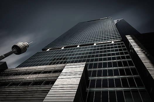 Monumental Skyscraper in Sydney CBD in black and white by Daniela Constantinescu