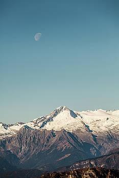 Moon and mountain by Cristian Mihaila