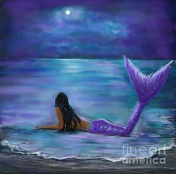 Moon And Stars Mermaid by Leslie Allen