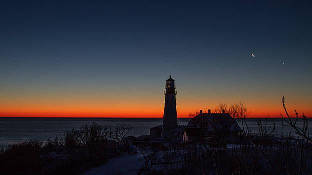 Moon and Venus - Headlight Sunrise by Darryl Hendricks