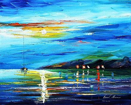 Moon Imagination - PALETTE KNIFE Oil Painting On Canvas By Leonid Afremov by Leonid Afremov