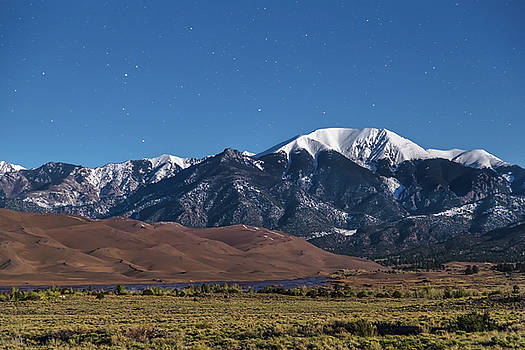 Moon Lit Colorado Great Sand Dunes Starry Night  by James BO Insogna