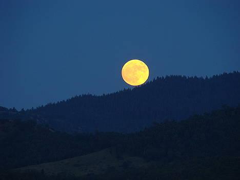 Baslee Troutman - MOON Orange Full Moon Blue Twilight Mountains Giclee Art Prints