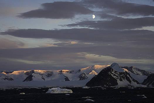 Moon over alpine glow Antarctica by Ralph Fahringer