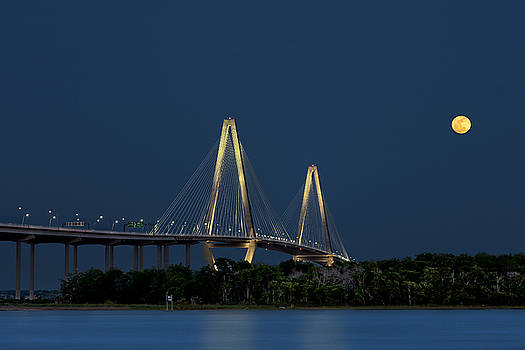 Ken Barrett - Moon over Arthur Ravenel Jr. Bridge