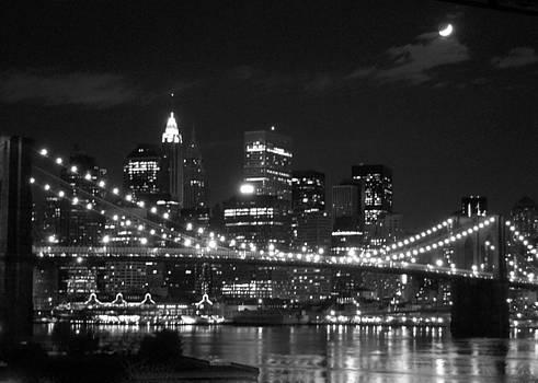 Moon over Brooklyn Bridge by Susan Gauthier
