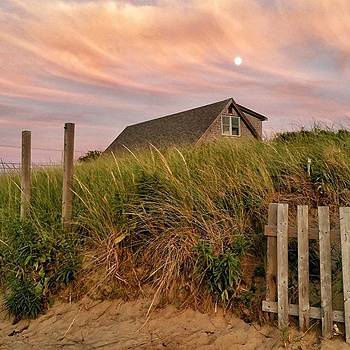 Moon Over Cape House At Sunset by Sally Cooper