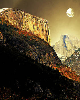 Wingsdomain Art and Photography - Moon Over Half Dome . Portrait Cut