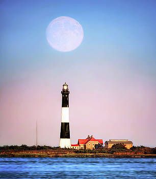 Moon Over Lighthouse by Vicki Jauron