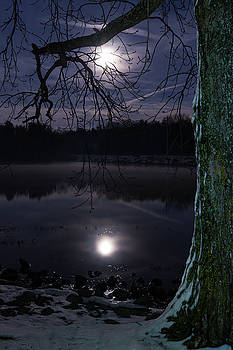 Moon Over Old Hickory Lake by John Zocco