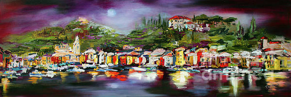 Ginette Callaway - Moon Over Portofino Italy Oil Painting