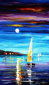 Moon Over The Bay - PALETTE KNIFE Oil Painting On Canvas By Leonid Afremov by Leonid Afremov
