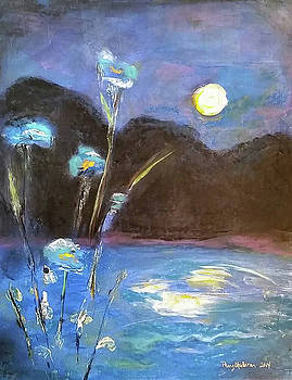 Moon Over the Lake, Oregon by Penny OHalloran