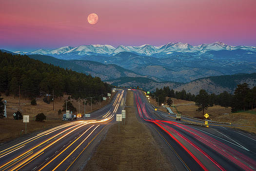 Moon Over the Rockies by Darren White