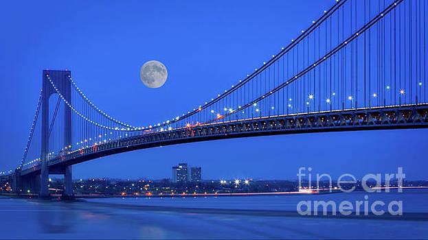 Moon over the Verrazno Bridge by Jerry Fornarotto