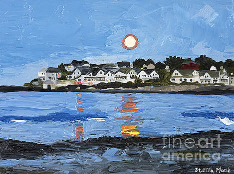 Moon Over York Beach by Stella Sherman