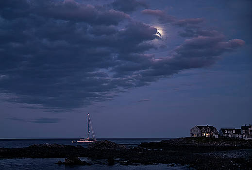 Moon Rise at Perkins Cove by Lee Fortier