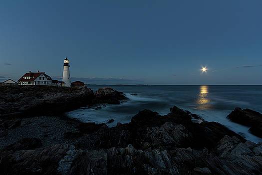 Moon Rise at Portland Headlight by Darryl Hendricks