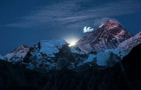 Moon rise over Mount Everest by Marlene Ford