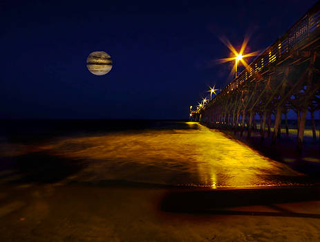 Moon Rising at the Pier by Terry Shoemaker