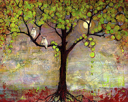 Moon River Tree Owls Art by Blenda Studio