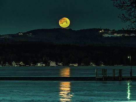 Moon Setting over Winnisquam by Mim White