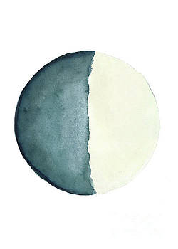 Moon Watercolor Painting, Blue Living Room Decor Solar System by Joanna Szmerdt