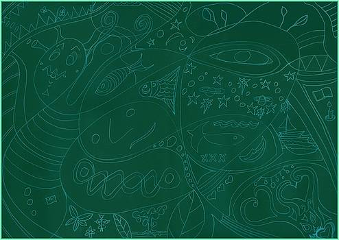 Moonfish Drawing Negative Green Chalk by Julia Woodman