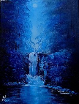 MoonLight Waterfall by Fineartist Ellen