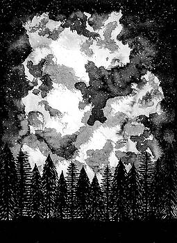 Moonlit Shadow Black and White by Petros Illustrations