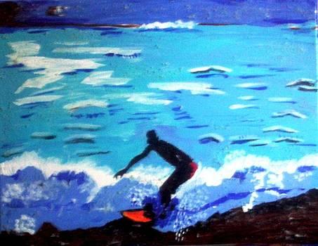 Moonlit surf by Lorna Lorraine