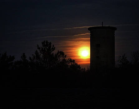 Moonrise at Fire Control Tower 1 at Fenwick Island by Bill Swartwout