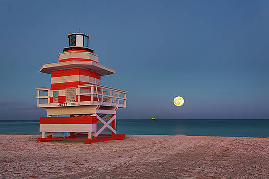 Moonrise at the Jetty Lifeguard Tower by Claudia Domenig