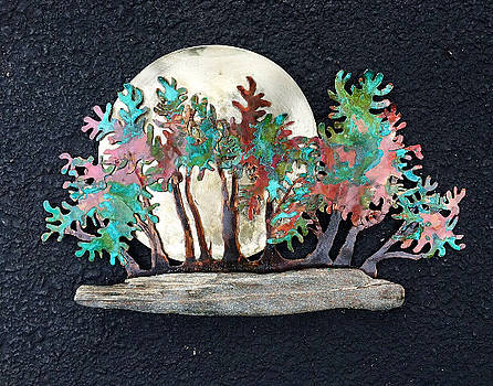 Moonrise in Maine Raft Style Bonsai Wall Sculpture by Vanessa Williams