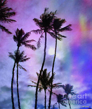 Moonrise In The Palm Trees by Jerome Stumphauzer