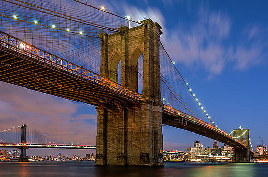 Moonrise over Brooklyn Bridge by Randy Lemoine