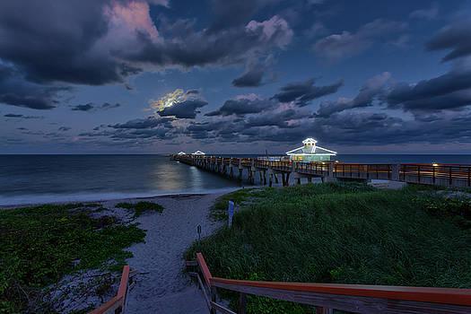 Moonrise over Juno Beach Pier III by Claudia Domenig