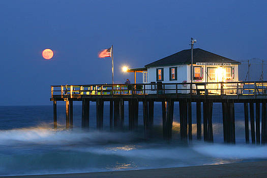 Moonrise Over Ocean Grove Pier by Kelly S Andrews