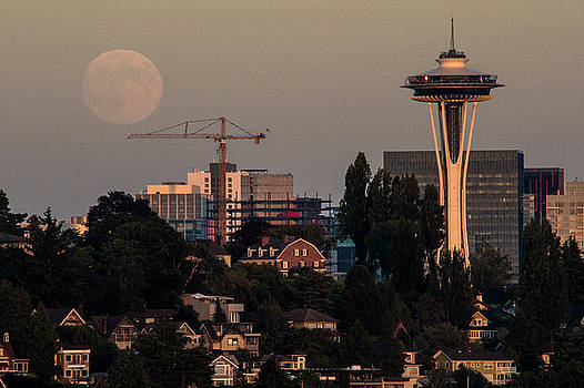 Moonrise over Seattle by Matt McDonald