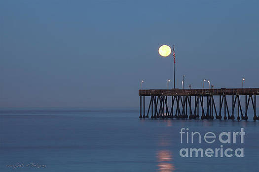 Moonset at the Ventura Pier by John A Rodriguez