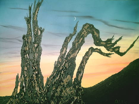 Moonset-Bristlecone Pine by Jim Saltis