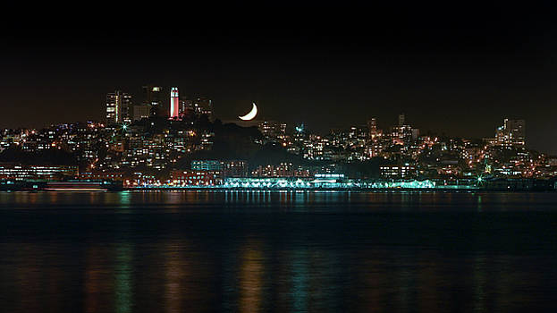 Moonset over Coit by LiveforBlu Gallery