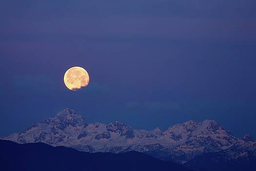 Moonset over Mount Triglav in the Julian Alps by Ian Middleton