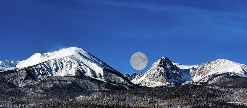 Moonset Over Silverthorne Mountain by Stephen Johnson