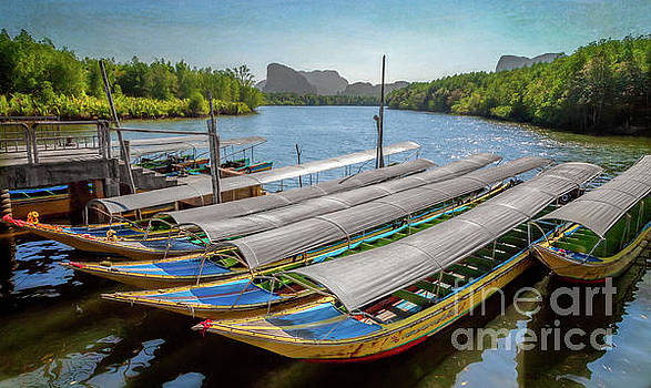 Adrian Evans - Moored Longboats